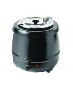 Vízzel fűtött leves melegítő, fekete bevonat, 400W, 10L kapacitás